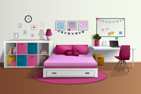 recreation rooms: Girl room realistic interior with pink bed chair bookshelf photo frames desk laptop pillows carpet vector illustration