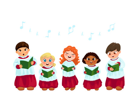 Little kids in church costumes going Christmas caroling flat vector illustration