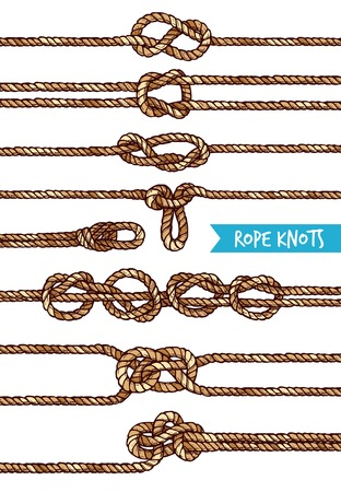 nodes: Rope knots set of different nodes and shapes in hand drawn style isolated vector illustration Illustration