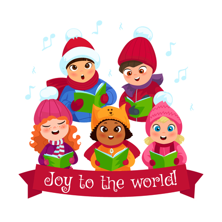 Little kids in winter clothing singing Christmas caroling flat composition vector illustration