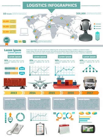 global logistics: Global logistics infographics with network distribution and delivering different transports supporting accessories vector illustration