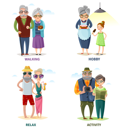 Old people cartoon collection in different activities and situations isolated vector illustration