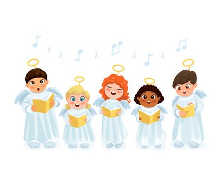 Little kids in angel costumes going Christmas caroling flat vector illustration Illustration
