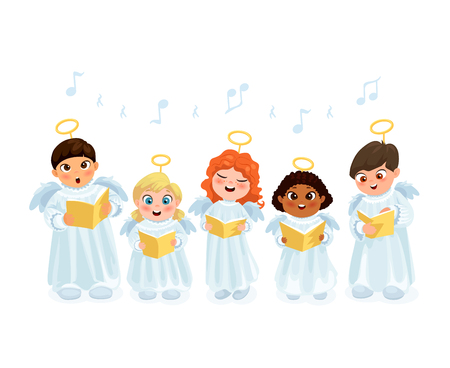 Little kids in angel costumes going Christmas caroling flat vector illustration Vettoriali