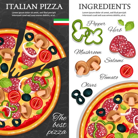 ingredients: Flat design vertical banners with best italian pizza and its ingredients isolated vector illustration