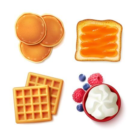 Ontbijt menu-items 4 realistische top vie beelden vierkante samenstelling met geïsoleerd pannenkoeken wafels toast cream vector illustratie