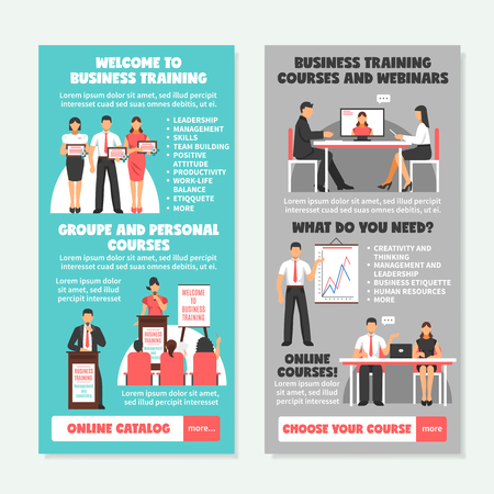 briefing: Business training vertical banners with presentation of different types of learning and teaching strategies vector illustration Illustration