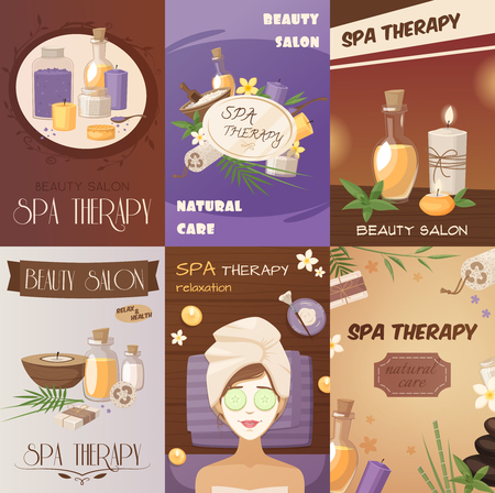 natural therapy: Spa therapy and beauty cartoon posters with natural healthy body care accessories woman mask vector illustration