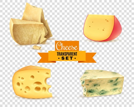 Best quality special cheeses realistic images composition with edam maasdam parmesan and dorblu transparent background vector illustration Illustration