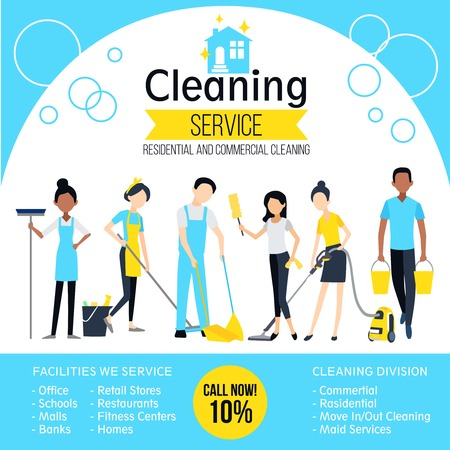 Cleaning company poster with workers and different services in flat style vector illustration Vectores