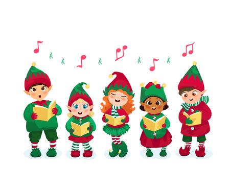 아이가 크리스마스 elves 의상을 입고 평평한 벡터 일러스트 캐롤