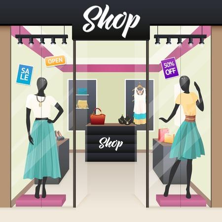 女性ファッションの服、美容アクセサリー ショップ販売表示 windows ストリート ビュー リアルな画像ベクトル図