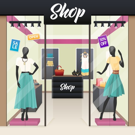sale shop: Women fashion clothes and beauty accessories shop sale display windows street view realistic image vector illustration