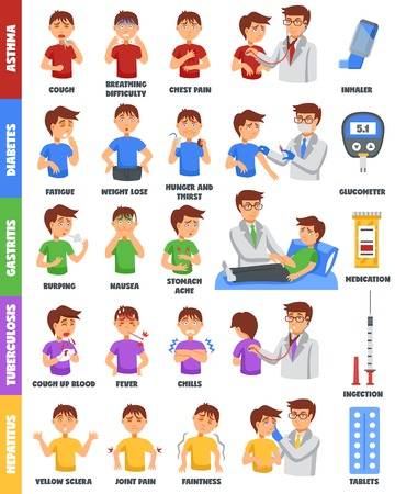 illustation: Infographic poster with isolated colorful cartoon characters of sick boy representing various illnesses symptoms and treatment vector illustation