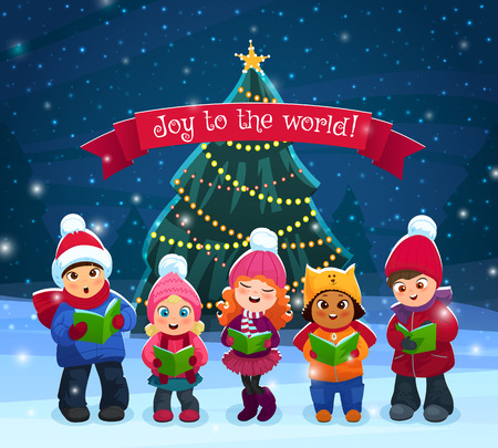Little kids singing Christmas caroling with pine tree on bakcground vector illustration Vettoriali