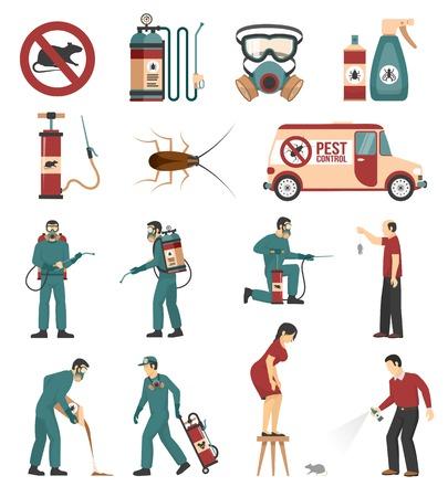 Ongediertebestrijding bedrijfsuitrusting behandelingen en producten vlakke pictogrammen collectie met geïsoleerd kakkerlakken en ratten verwijdering vector illustratie