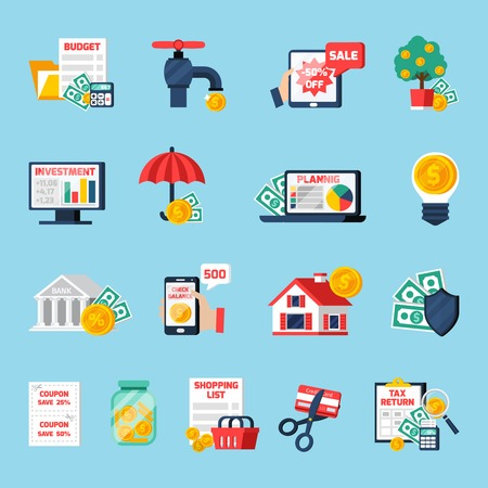 Home budget icons set with counting money symbols on blue background flat isolated vector illustration Illustration
