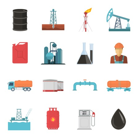 power industry: Oil and gas industry isolated icon set with power plants vessels jars pumping units and vehicles vector illustration