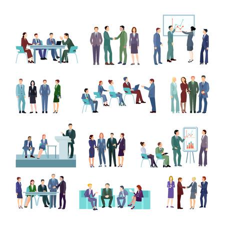 Conjunto de grupos de conferencia de reunión plana de empresarios discutiendo estrategias de desarrollo de la empresa ilustración vectorial aislado