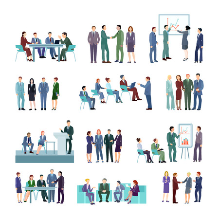 briefing: Flat meeting conference groups set of business people discussing strategies of company development isolated vector illustration