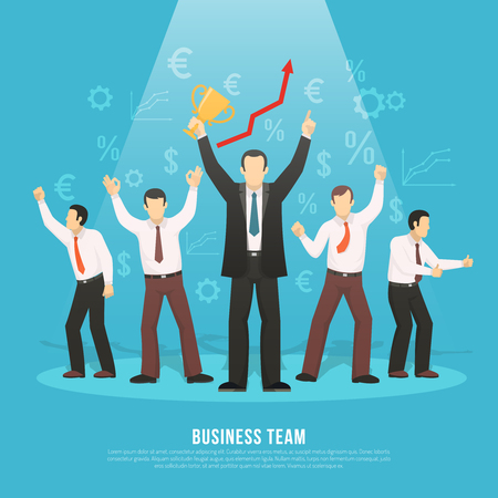 prize winner: Business team success flat poster with manager holding winner prize and euro dollar profit symbols vector illustration