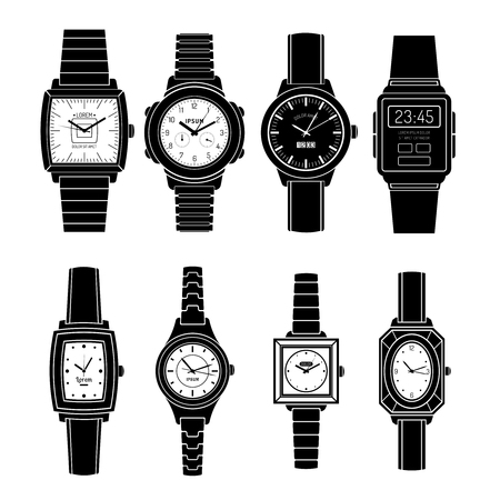 wrist watch: Modern and retro popular watches styles sets black icons collection with mechanical automatic and quartz isolated vector illustration