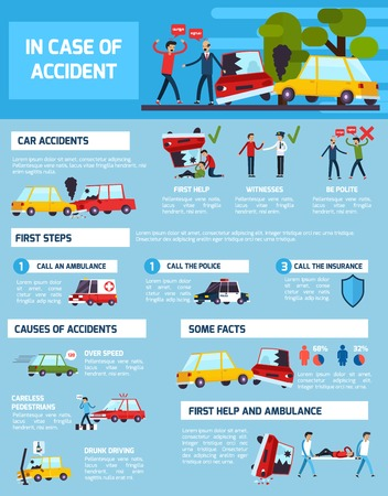 witnesses: Road accidents infographic set with first aid and causes symbols flat vector illustration Illustration