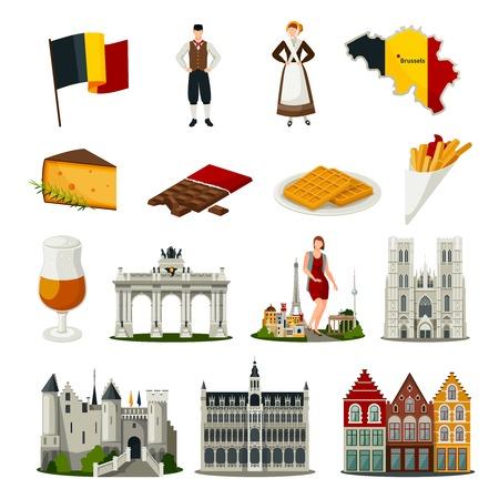 Conjunto de iconos de estilo planas con símbolos de Bélgica incluyendo la arquitectura de alimentos trajes nacionales aisladas ilustración vectorial