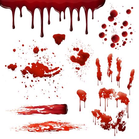 Bloedspatten realistische bloedvlekken patronen set van uitstrijkjes spatten drippings druppels en handafdruk op een witte achtergrond vector illustratie