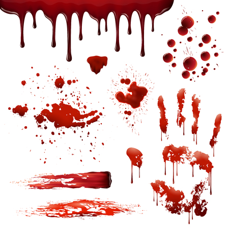 blood smear: Blood spatters realistic bloodstains patterns set of smears splashes drippings drops and handprint on white background vector illustration