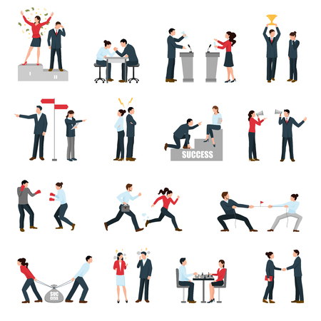 business symbols: Constructive confrontations in business specific situations as way for success symbols flat icons collection isolated vector illustration