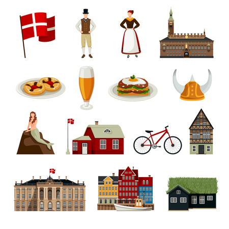 Denmark set of icons in flat style with architecture national flag clothing and  cuisine isolated vector illustration