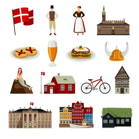 Reeks van de pictogrammen van Denemarken in vlakke stijl met kleding van de architectuur de nationale vlag en keuken geïsoleerde vectorillustratie