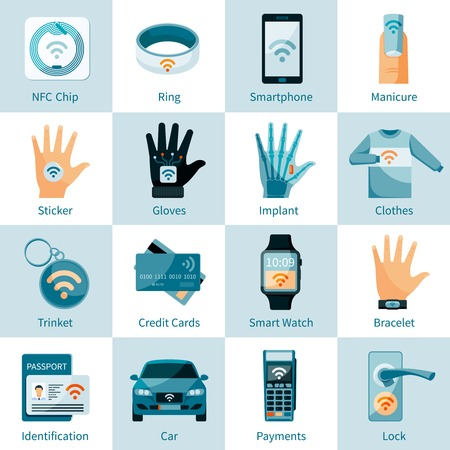 nfc: NFC technology icons set with chip ring  trinket banking card and identification flat style isolated vector illustration
