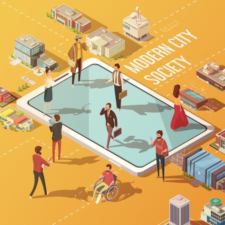 multitud gente: concepto de ciudad moderna sociedad de gente se comunica a través de internet ilustración isométrica del vector