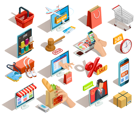Online shopping isometric shadow icons collection with grocery travel books and clothing  ecommerce stores orders isolated vector illustration Ilustração