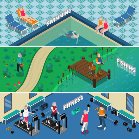 Horizontal isometric banners with elderly people doing fitness fishing and swimming isolated vector illustration Illustration