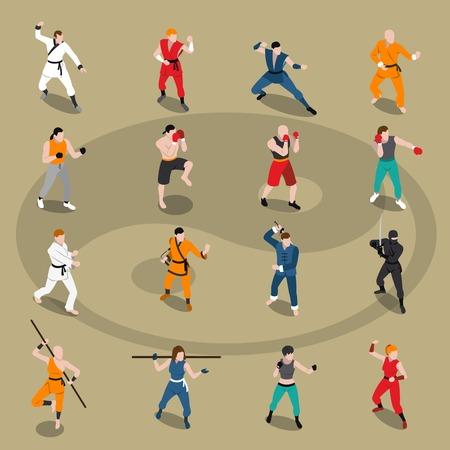 patada: Conjunto isométrico de personas que hacen diferentes artes marciales orientales y europeas aisladas en el fondo con la ilustración del vector de Yin Yang