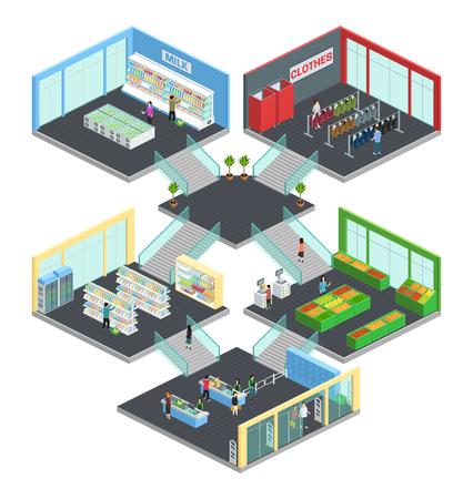 Multistore Supermarkt isometrische Komposition mit Kleidung und Milch Symbole Vektor-Illustration Vektorgrafik