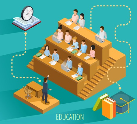 High school education with university lecture  study textbooks and graduation symbols isometric flowchart elements poster vector illustration 向量圖像