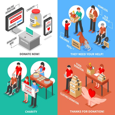 needy: Charity donation for needy adults children and animals isometric 2x2 design concept isolated on colorful backgrounds vector illustration