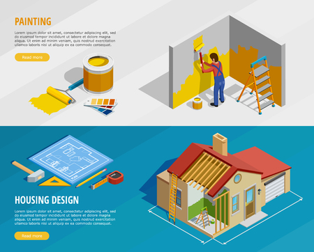 Home renovation isometric horizontal banners with painter tools and house construction with its design isolated vector illustration