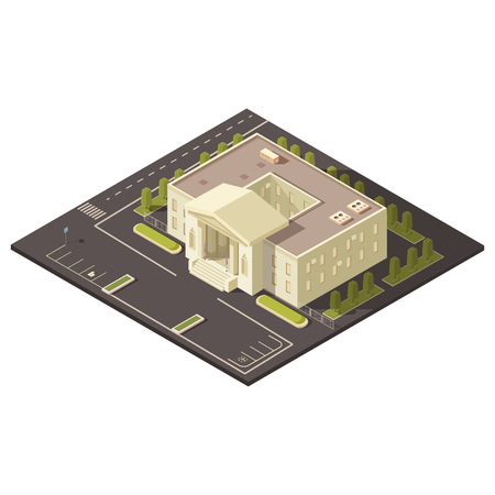 Government building concept with parking and lawns and trees isometric vector illustration