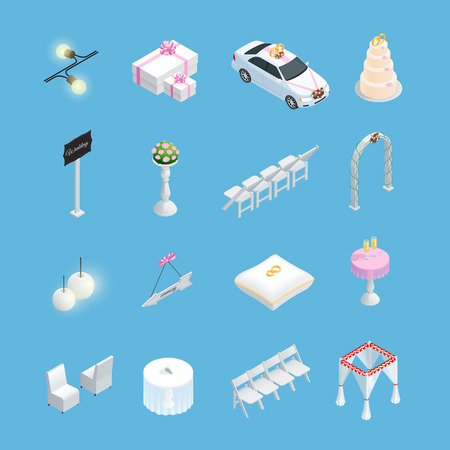 guests website: Wedding ceremony isometric elements set with rings cake and bride bouquet isolated vector illustration Illustration