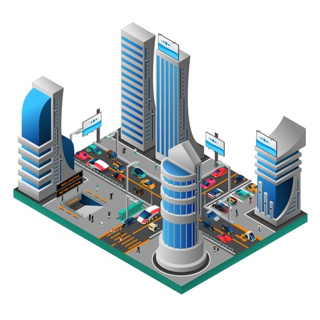 futuristic: City of future isometric template with futuristic buildings skyscrapers cars people road metro station isolated vector illustration