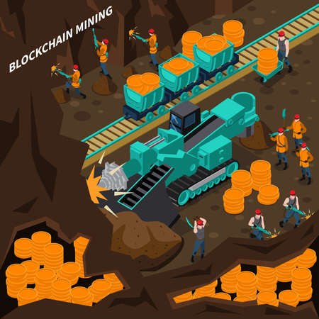 Blockchain mining isometric concept with machinery and miner people vector illustration