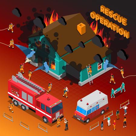 Bombero plantilla isométrica con los bomberos de extinción de quemar a la gente de camiones manguera de casa y la ilustración vectorial de ambulancia