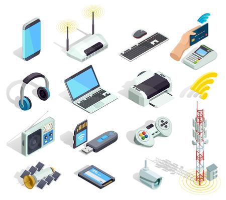 Bezprzewodowej podłączeniowej technologii gadżetów i przyrządów elektroniczne isometric ikony inkasowe z drukarka routerem i klawiaturą odizolowywaliśmy wektorową ilustrację