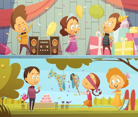 Glückliche Kinder, die Spaß tanzen und spielen auf Geburtstagsparty horizontale Banner Cartoon isoliert Vektor-Illustration Standard-Bild - 69713941