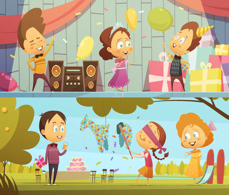 Happy kids having fun dancing and playing at birthday party horizontal banners cartoon isolated vector illustration Illustration